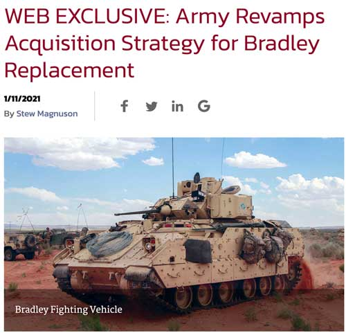 Cover photo and headline reading Army Revamps Acquisition Strategy for Bradley Replacement