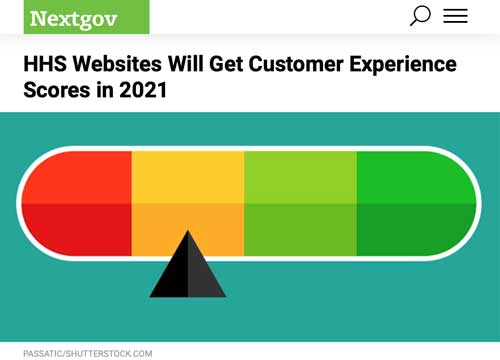 """Article headline reading """"Health and Human Services Websites Will Get Customer Experience Scores In 2021."""""""