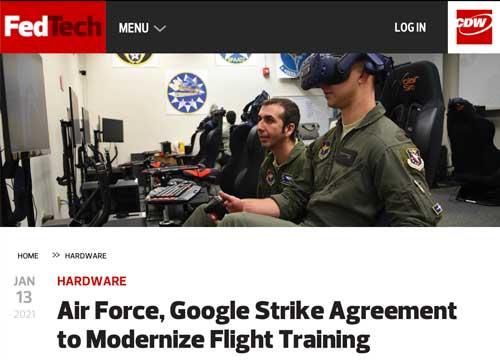 "Headline reading ""Air Force, Google Strike Agreement to Modernize Flight Training."""