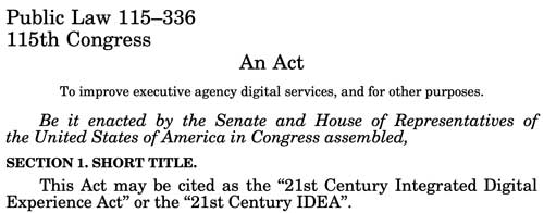 """Screenshot of the opening section of the """"21st Century Integrated Digital Experience Act,"""" or the """"IDEA Act."""""""