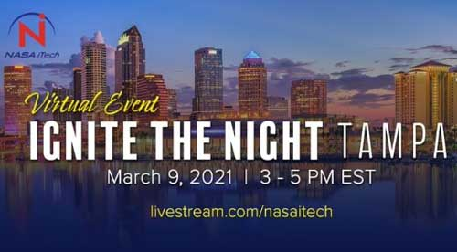"""Promotional brochure for NASA's """"Ignite The Night"""" event of March 9. 2021."""