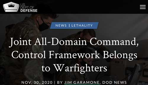 """Headline: Joint All Domain Command, Control Framework Belongs To Warfighters"""""""