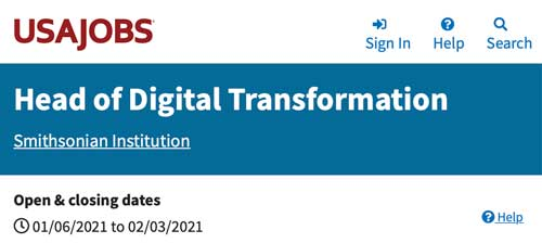 Header of a job listing from the Smithsonian Institution for a Head of Digital Transformation.