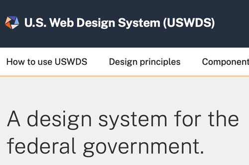 Screenshot of the US Web Design System's homepage banner