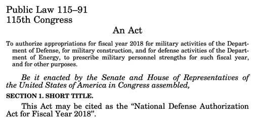 Screenshot of the opening paragraph of the 2018 Defense Budget