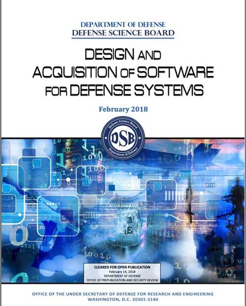 """Cover of the Defense Science Board's report on """"Design and Acquisition of Software for Defense Systems."""""""