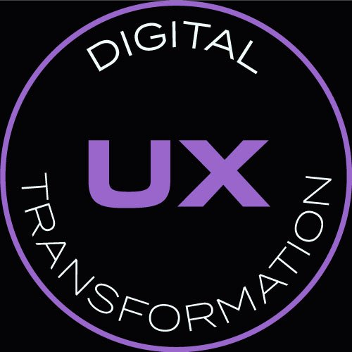 """Logo with the words """"Digital Transformation"""" around the term """"UX"""""""