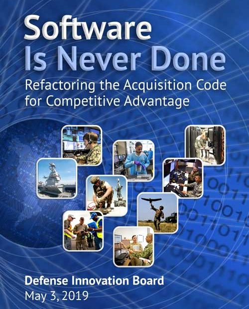 """Cover of """"Software Is Never Done"""" report by the Defense Innovation Board"""