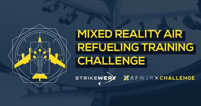 """AFWERX Challenge banner reading """"Mixed Reality Air Refueling Training Challenge."""""""