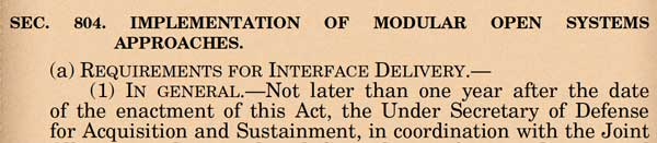 """Screen grab of Section 804 of the 2021 Defense Budget, """"Implementation of Modular Open System Approaches."""""""