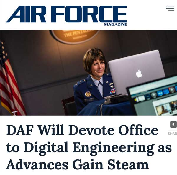 """Headline reading: """"Air Force will devote office to digital engineering as advances gain steam."""""""