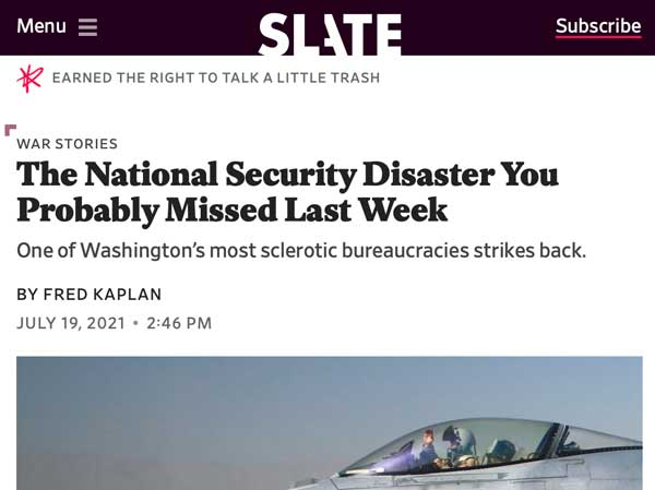 """Headline reading """"the national security disaster you probably missed last week."""